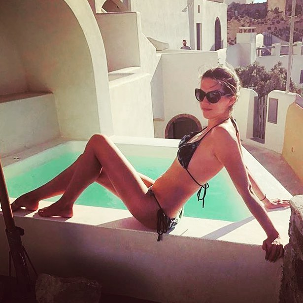 Lumé around the world 🌎 spotted in #santorini  share your pics with us #lumearoundtheworld 💋Lumé.  Model @catherine_network in our triangle bikini