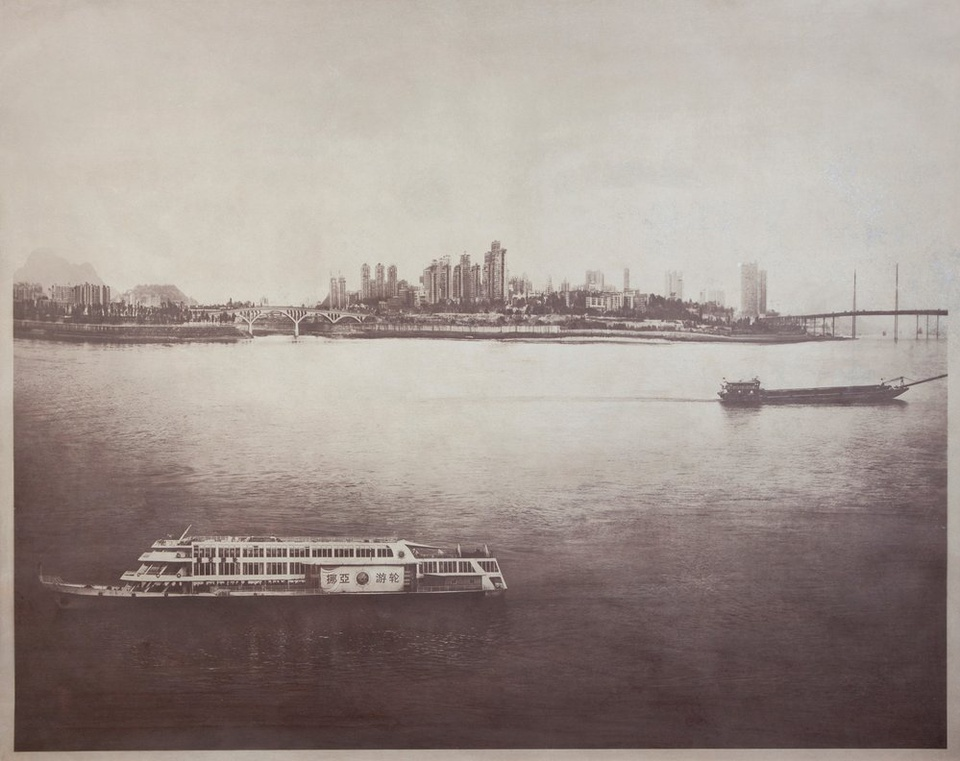 Matthew Brandt,  Two Ships Passing , China, 2011. Salted paper print with Xianjiang River water 42 x 52 1/2""