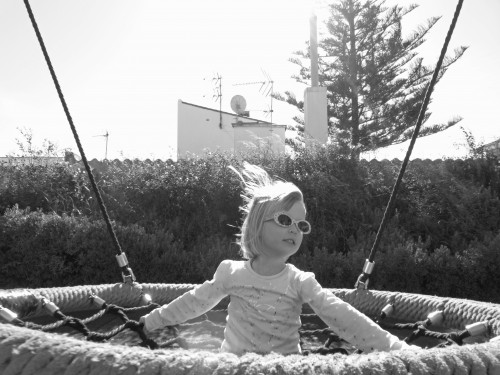 aly on swing bw