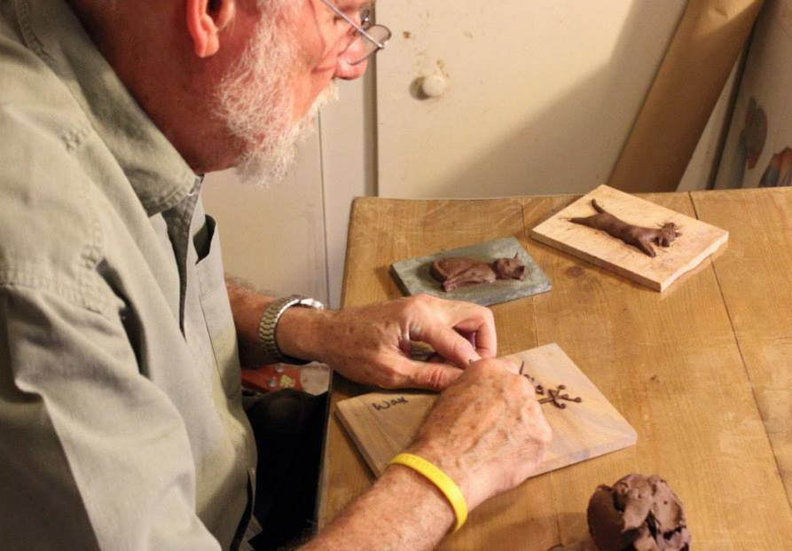 Larry creating the image in clay, from which a mold will be made and then cast in cold cast bronze, hydrostone or other materials.