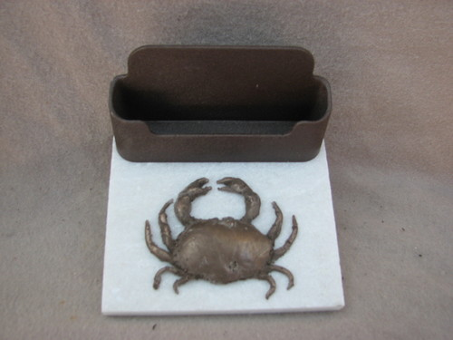 4 X 4 Business Card Holder With Crab On Marble Stoneface Clocks
