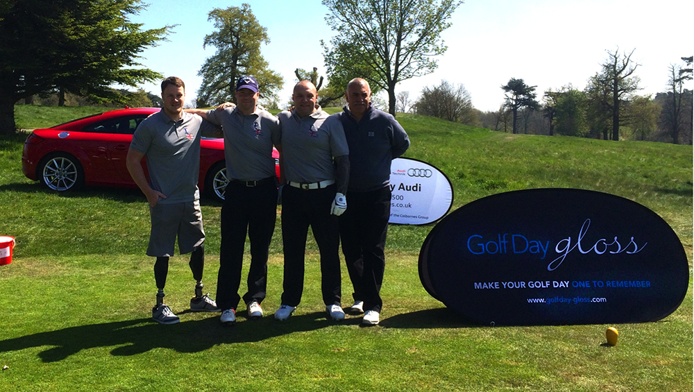 Battleback Golf Team, Michael Swain MBE, Danny Kay former soldier British Army , Scott Blaney, former soldier British Army & Zeno Gomes, Instructional Officer 1, DMRC.