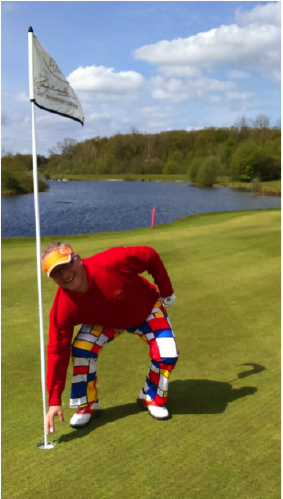 Ray Dalton, 10 handicapper collecting his Ace ball on the 7th hole at The Shire London at recent Loudmouth Golf's golf day.