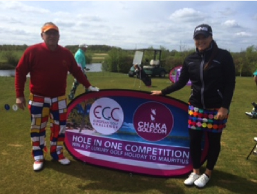 Pictured here above, Ray who beautifully holed out to beat equally beautiful Kelly Tidy, Professional Golfer to a perfect prize of 5* Golfing Holiday to Mauritius whilst playing the European Golf Challenge at The Shire.