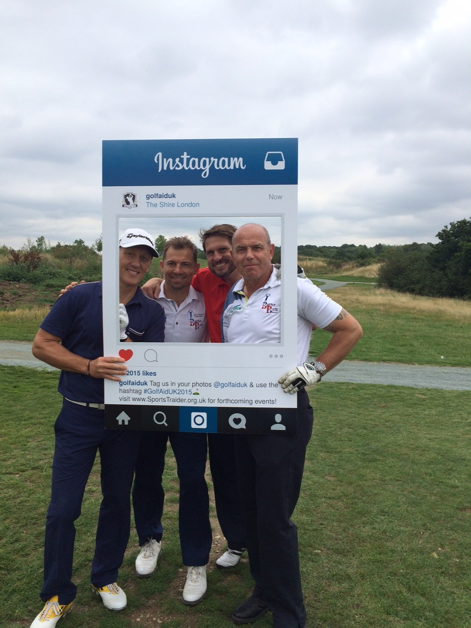 Showing us how it's done with a selfie board here are two of the BattleBack Golfers with ex Arsenal Lee Dixon & Adrian Clark who made  great contribution to the day.
