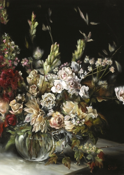 "Antoinicus   2012 Floral Artist of the Year Winning Entry    Original:  Oil on Canvas       Image Size:    38"" x 27""  Framed Size:  45"" x 34""   Framed:  Premium Wood with Soft Silver Leaf Finish        © 2015 Schuster Art, LLC"