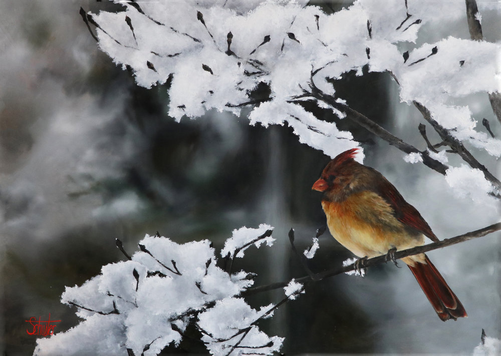 "Christmas Perch  Oil on metal  35""X47""  SOLD   Prints available in summer 2018"
