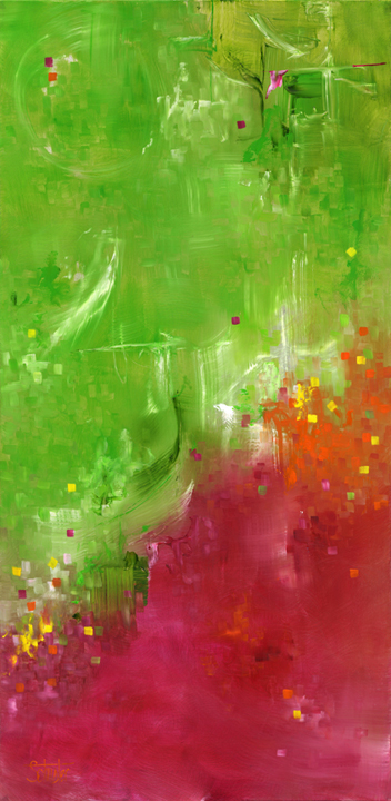 """Canis Green  23""""x 47""""  $2,150"""