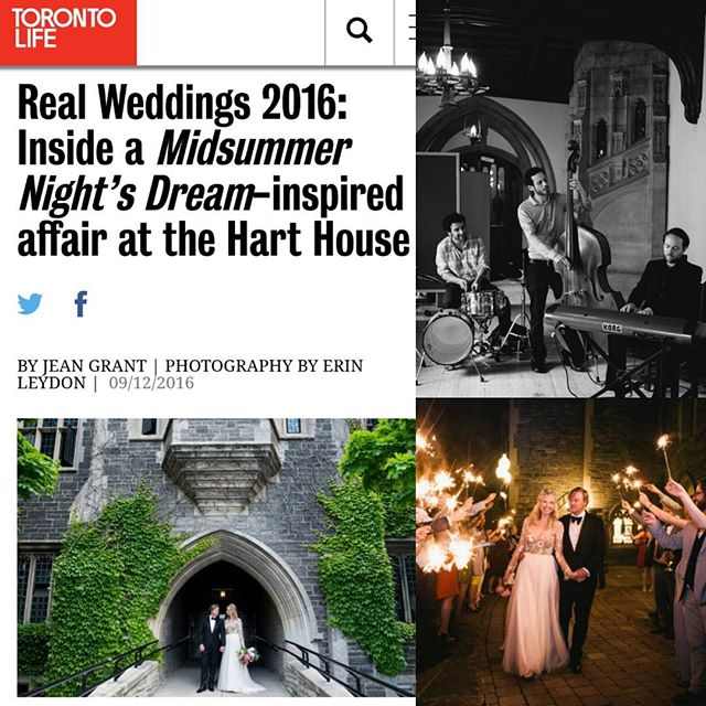 Nice feature in @torontolifemag this week of @nicholaspye and @mirandaurbanski 's beautiful June wedding @harthouseuoft!  Check it out at http://torontolife.com/style/real-weddings-2016-inside-midsummer-nights-dream-inspired-affair-hart-house/ #torontolife #torontoweddings #toronto #harthouse #summerweddings #sidecarmusic