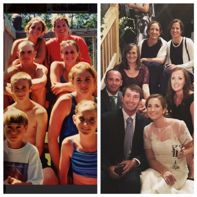 Before and After: My cousins and I in middle school (left) and at my wedding (right) in October 2015, sitting in the same exact spots.