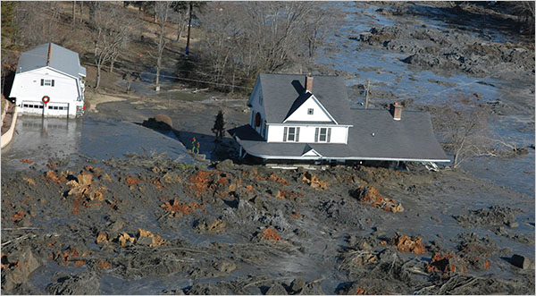 Above: The aftermath of the 2008 TVA Coal Ash Spill in Kingston, TN, one of the largest environmental disasters in U.S. history. Photo - J. Miles Carey/Knoxville News Sentinel, via Associated Press