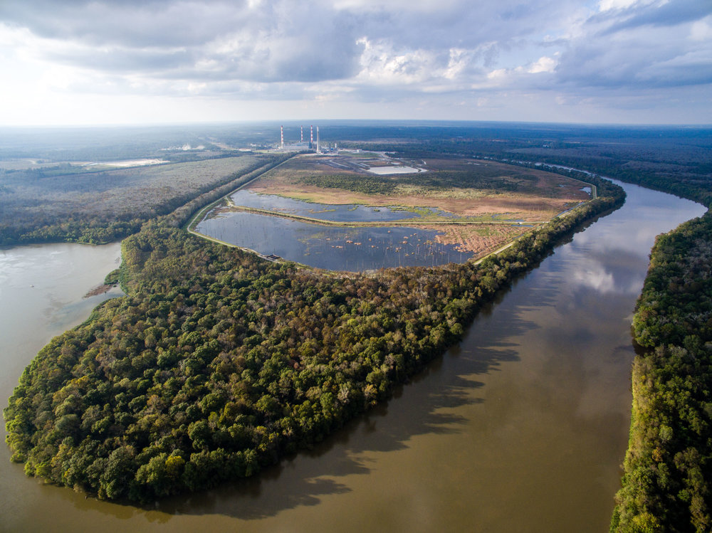 Above:  Aerial view of  The James M. Barry Electric Generating Plant  in Mobile County, one of the largest coal ash ponds in the nation.