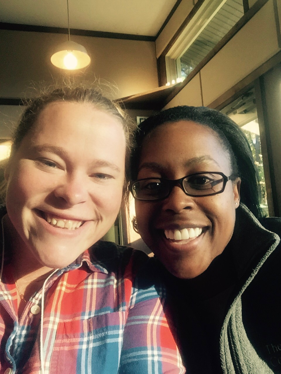 Jacqueline Gray Miller, Marketing Manager at The Nature Conservancy and I are all smiles during lunch in the dining hall!
