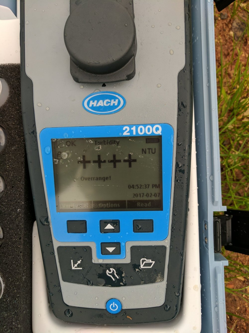 High turbidity (the term that means how cloudy water is) from a construction site registers outside the range of Mobile Baykeeper's turbidimeter during a construction stormwater inspection in Fairhope.