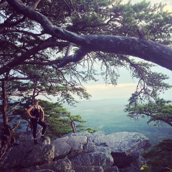 Hiking to the top of Cheaha Mountain, the highest point in Alabama.