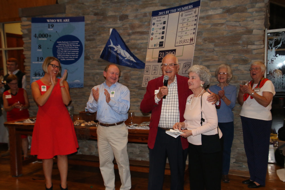 Jack, standing alongside his wife Janice, was honored as the recipient of the 2016 Bay Bash Award for his contributions as one of Mobile Baykeeper's founding members and his decades of service to our community.