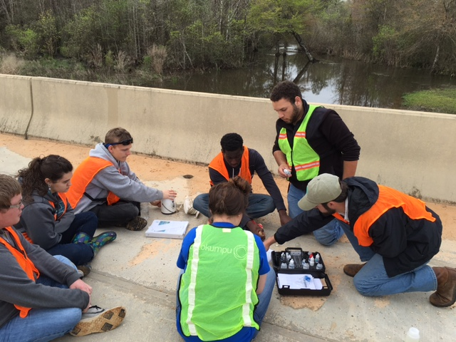 SWAMP monitors from Citronelle High School test water quality of local waterways.