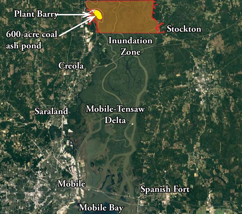 The above map is a user-friendly version created by Mobile Baykeeper staff approximating the information shown in Alabama Power's Plant Barry    inundation maps   .The map shown above is    ONLY    an approximation of more detailed maps released by Alabama Power in their    Emergency Action Plan    for Plant Barry and should    NOT    be used for emergency planning purposes. The total area impacted by coal ash would likely be larger and expand farther down the Mobile River.