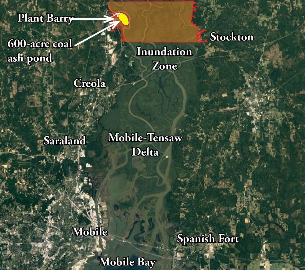 The above map is a user-friendly version created by Mobile Baykeeper staff approximating the information shown in Alabama Power's Plant Barry inundation maps. The map shown above is ONLY an approximation of more detailed maps released by Alabama Power in their Emergency Action Plan for Plant Barry and should NOT be used for emergency planning purposes. The total area impacted by coal ash would likely be larger and expand farther down the Mobile River.