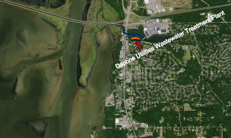 A map showing the location of the Daphne Utilities Wastewater Treatment Plant in orange and D'Olive Creek 200 feet to the North in blue. (Click to Zoom)