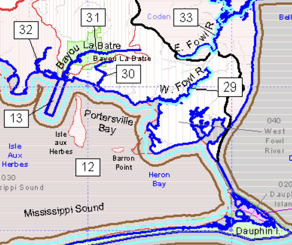 "The box labeled ""13"" shows the small area with lower water quality standards than the rest of Portersville Bay."