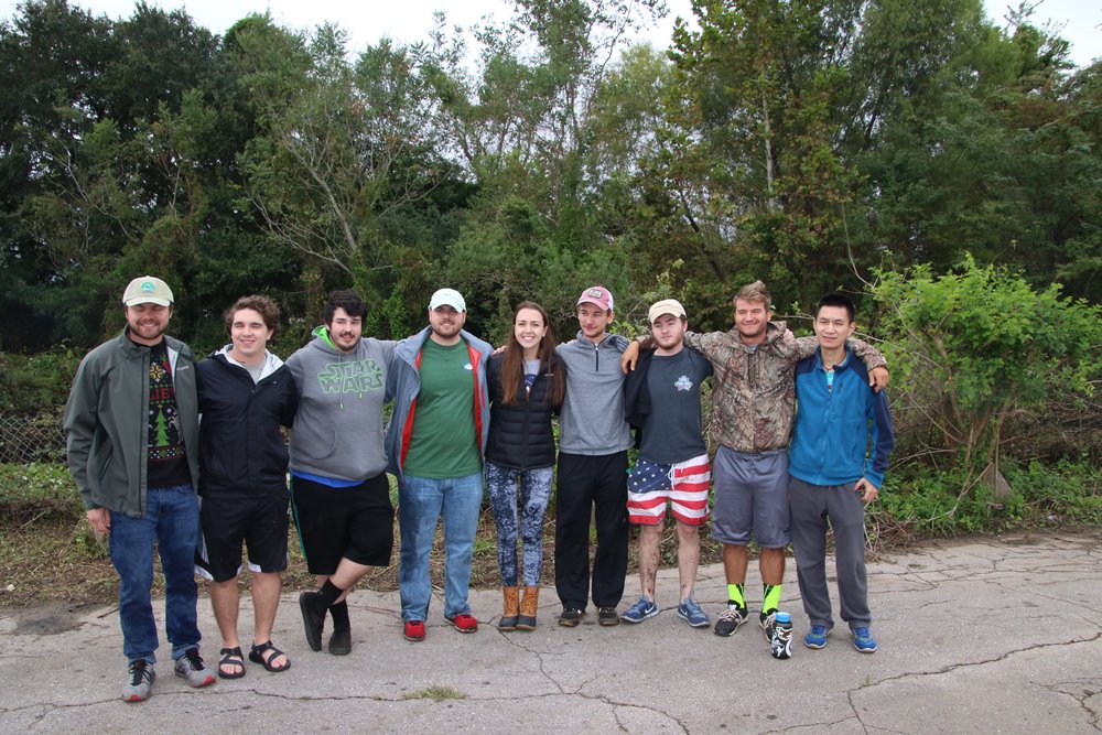 AmeriCorps Member Ellie Mallon, a senior at Spring Hill College, invited several of her friends from the TKE Fraternity to participate in the cleanup.
