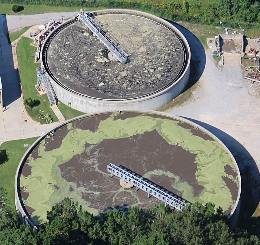 In the above photo, sludge can be seen entirely covering Daphne Utilities' clarifier. This is a serious failure of the treatment system at the plant and is allowing sewage be discharged into Blakeley River and Mobile Bay with very little treatment.