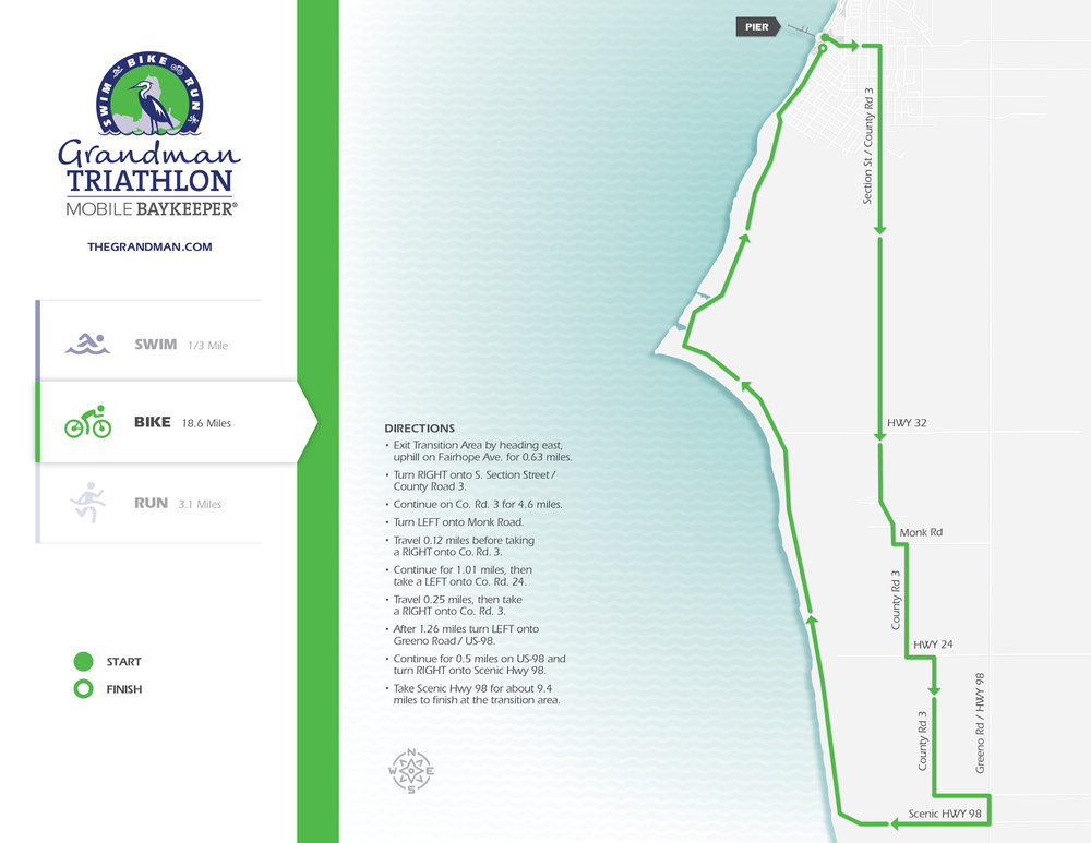 The bike course covers 18.6 miles of beautiful rolling hills traversing under giant live oaks and finishing with gorgeous views of Mobile Bay. Click to enlarge. Map design by    Graves Creative   .