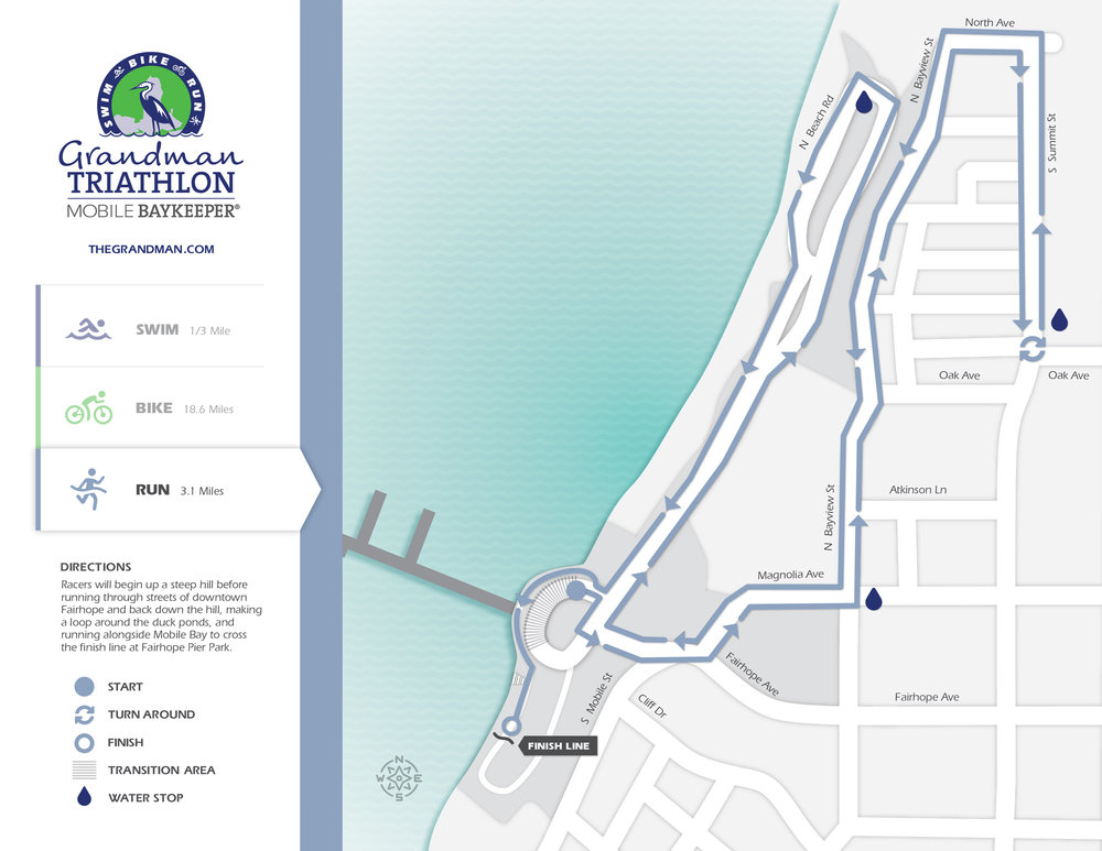 The run course takes competitors through side streets of spectacular Fairhope, AL with views of Mobile Bay throughout. The course sets up a dramatic conclusion to the race with a finish line set mere feet from the Bay. Map design by  Graves Creative .