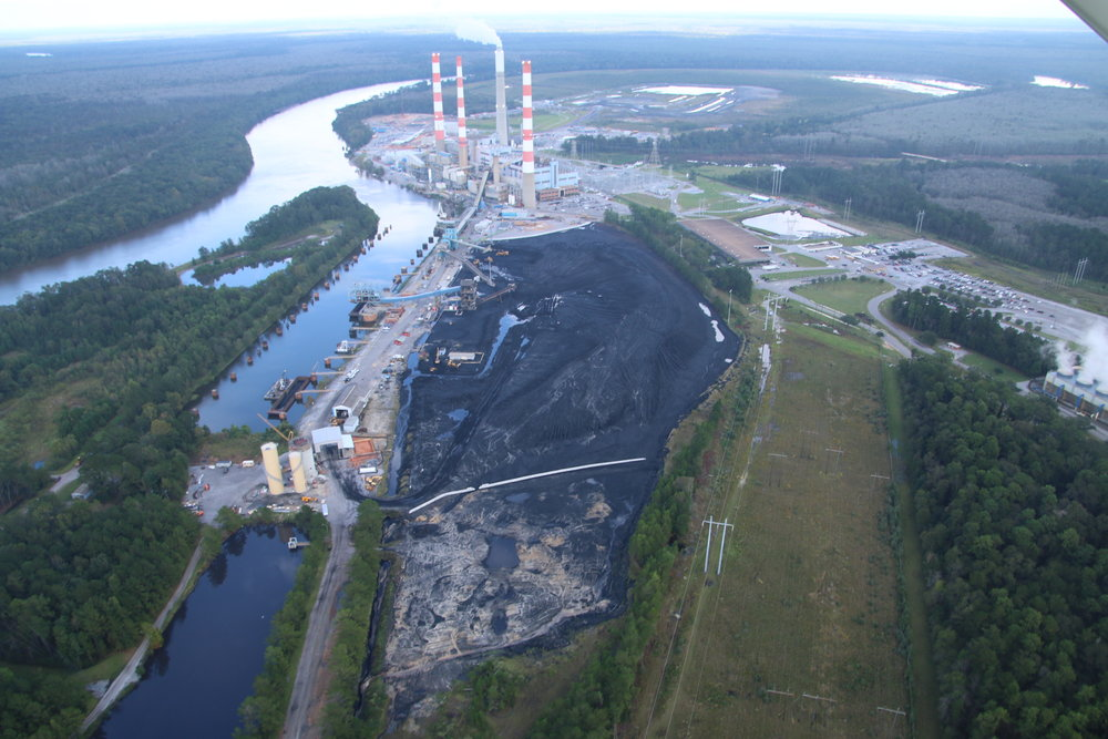 Above: Alabama Power stores more than 21 million tons of toxic coal ash adjacent to the Mobile River in the heart of the Mobile-Tensaw Delta.