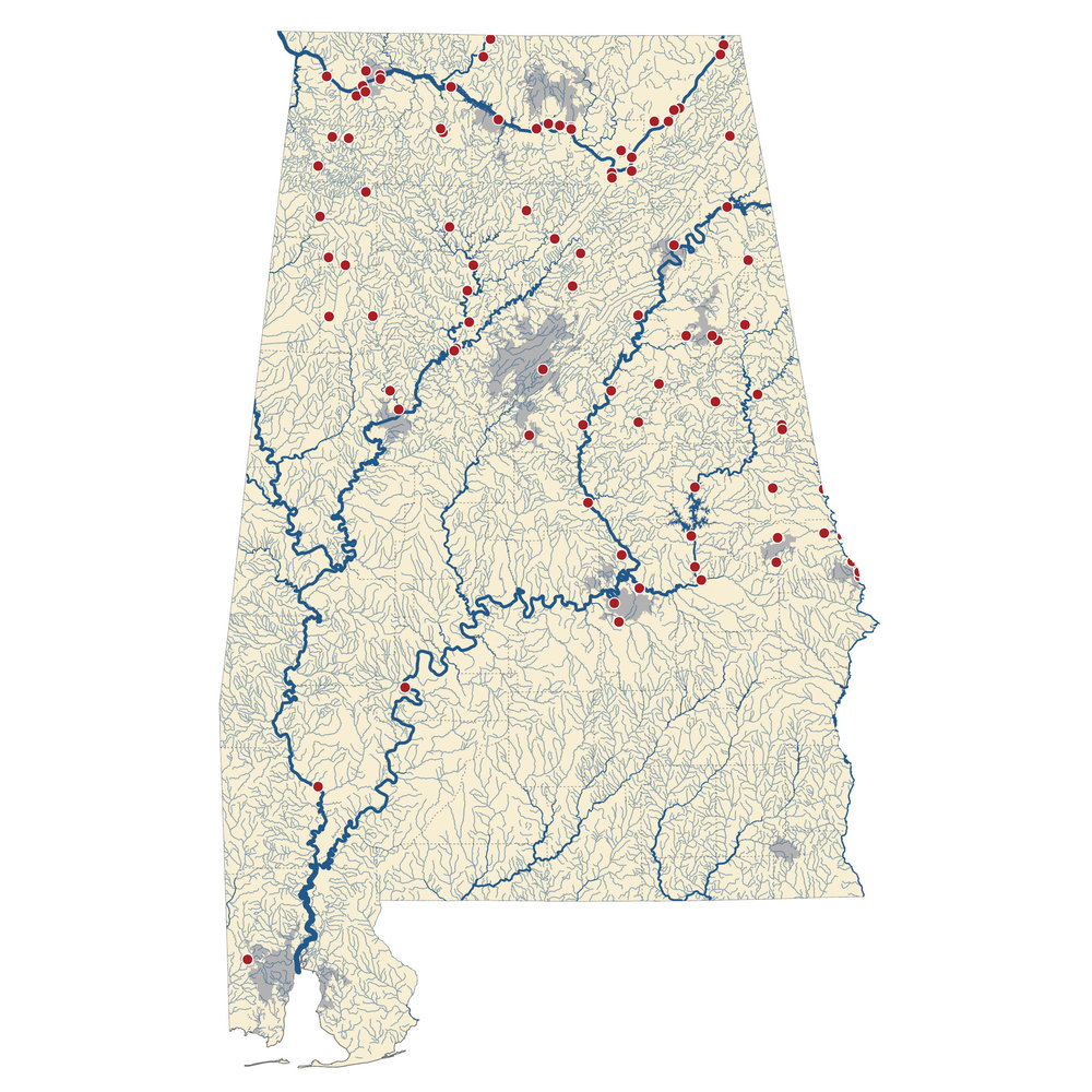 The map above shows drinking water sources in Alabama that may be affected by the proposed rule change. Big Creek Lake is shown as the red dot at the bottom corner of the map.   Map -    Southern Environmental Law Center