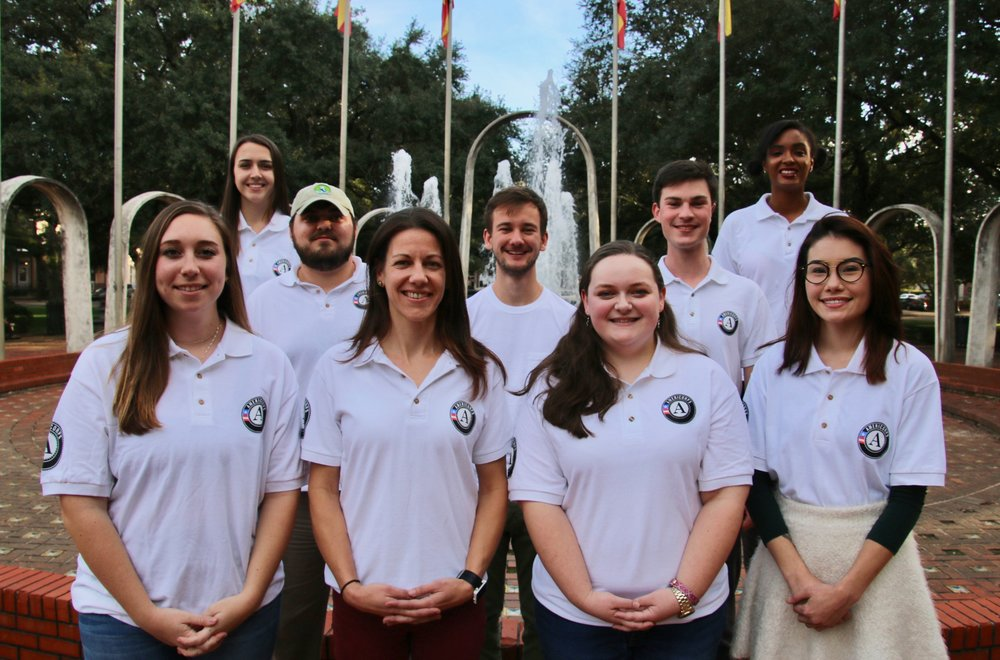 Mobile Baykeeper AmeriCorps Members for 2018-2019: (Front Row L-R): Sarah Asher, Ryann Wilcoxon, Emilee Foster, Jamie Ellis (Middle Row L-R): Braxton Orso, Boris Kresevljak, Jacob Hartley (Back Row L-R): Ellie Mallon, Kassey Trahanas.