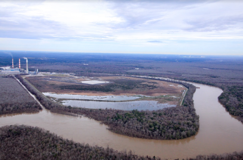 Plant Barry's Coal Ash Pond is shown here on a high water day in the Mobile-Tensaw Delta.