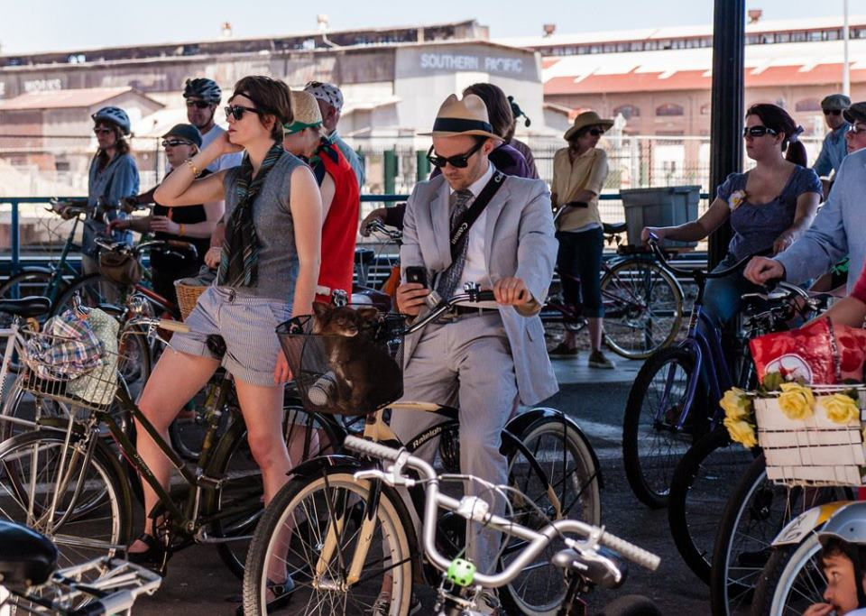 "2012 Jane Jacobs Roll, Sacramento ""Tweed Ride"" — at Sacramento Railyards."