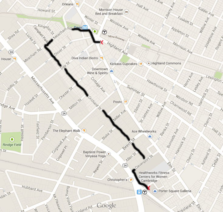 Cambridge: Orchard Street District Walk Route. Courtesy of Glenna Lang.