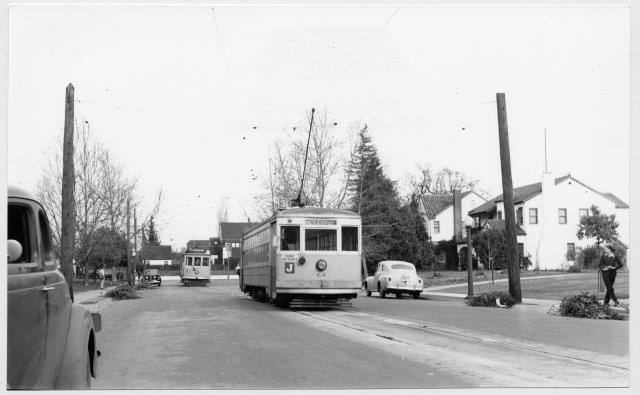 East Sacramento was once served by PG&E streetcars that ran down J Street, turning south at 46th Street. By the time this photo was taken circa 1945 they turned around and returned from this point, but until the mid-1930s they ran south through East Lawn Cemetery, zig-zagged past the Coloma School in Elmhurst and stopped at the rear entrance to the California state fairgrounds. Residents of 38th Street could easily reach the fairgrounds or downtown Sacramento on the #3 streetcar until it stopped running in 1946.