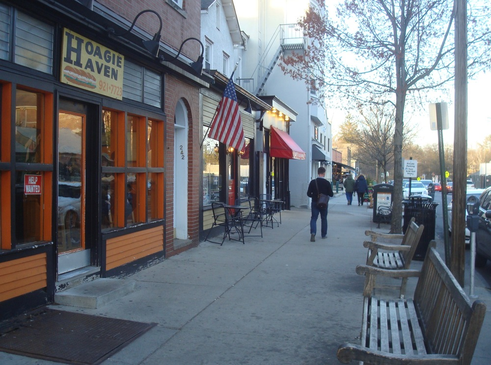 East Nassau Street sidewalk - 'Hoagie Haven' sandwich bar