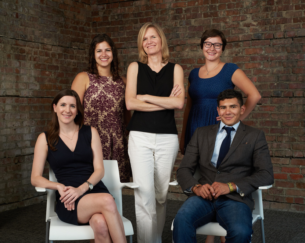 The group shot - Top row (left to right): Abigail Sebton, StayLocal's Research and Policy Coordinator / Dana Eness Executive Director / Felice Lavergne, UC's Project Manager. Bottom row (left to right): Meredith Cherney, StayLocal's Program Manager / Anthony Rizzi, StayLocal Intern.