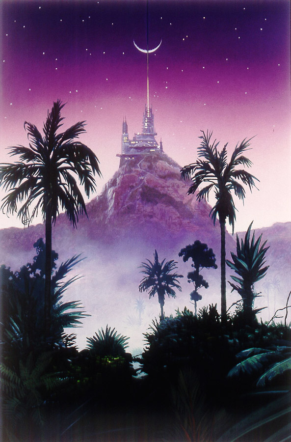 "Illustration from Arthur C Clarke's ""Fountains of Paradise""  http://www.chrismooreillustration.co.uk"