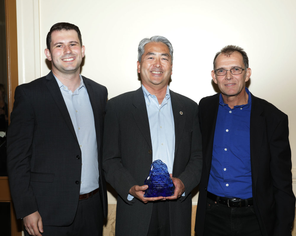 Assemblymember Muratsuchi (middle), and CAW Director of Advocacy Nick Lapis with Executive Director Mark Murray
