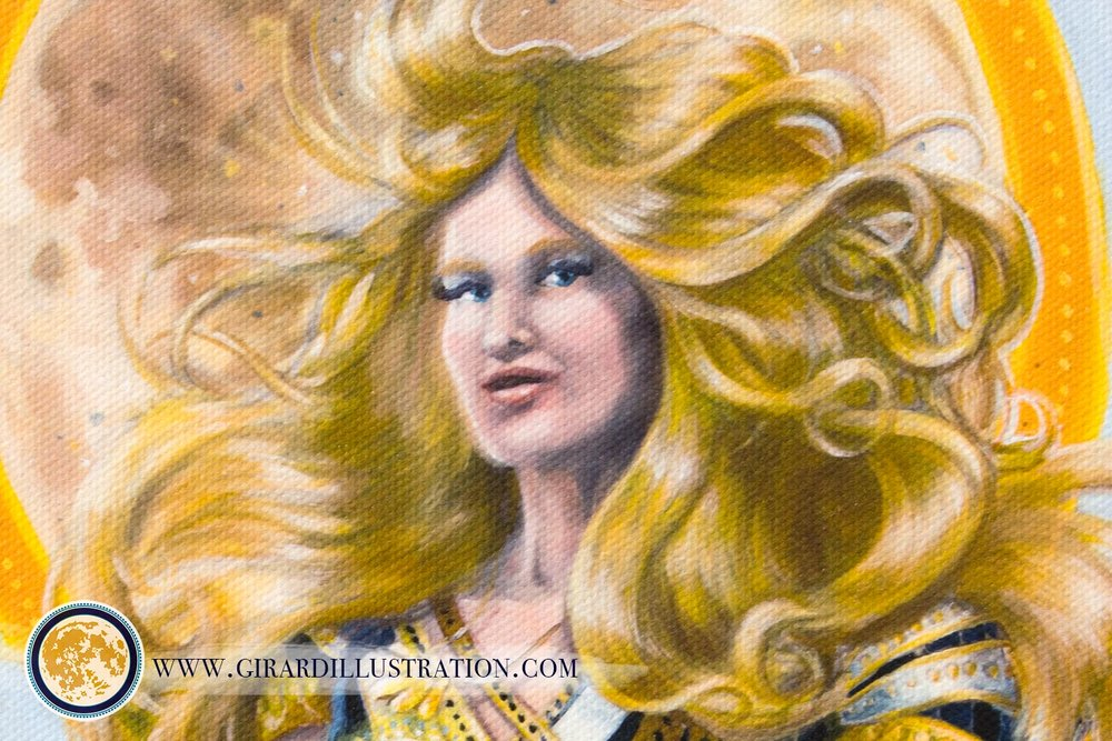 I began this painting with the vision of a goddess of creation in my heart.Detail of the   Air Magic  limited edition print on canvas by Kristen Girard.  © by Kristen Girard 2016.