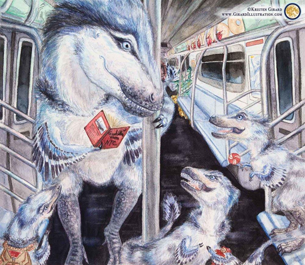 Tyrannosaurus Rex Family Rides the Subway