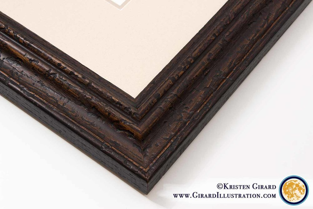 When it comes to framing your artwork, the details matter. Details can make all the difference.Details can help your artwork last a lifetime, while looking absolutely gorgeous. At Girard Illustration, we choose only the highest quality handmade frames and framing materials that complement the artwork beautifully with an eye for detail.