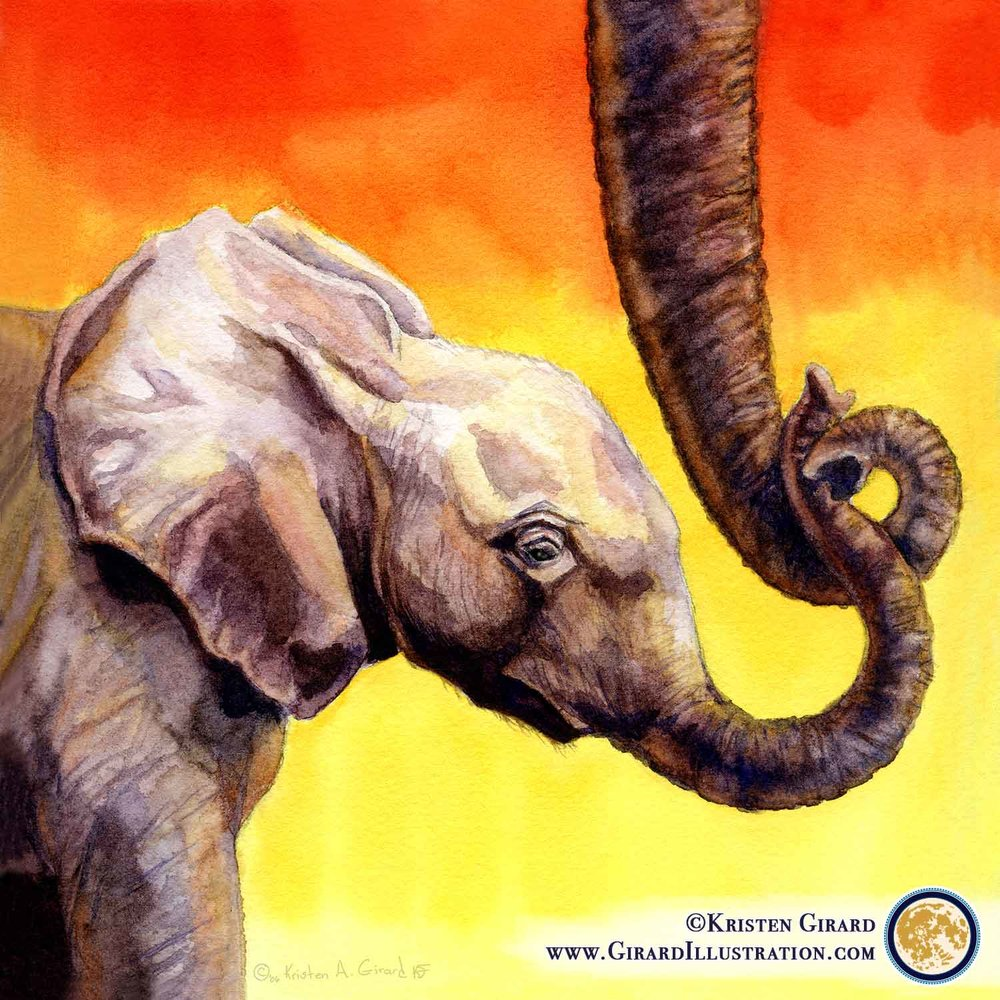 Elephant Mother and Calf.   Love isn't something unique to humans. Love is everywhere. Elephants love and want to protect their calfs, just like we do our children. Let's work together to keep elephants of all ages safe and healthy for our children's children to grow up loving, too.  Watercolor. © 2006 by Kristen Girard.