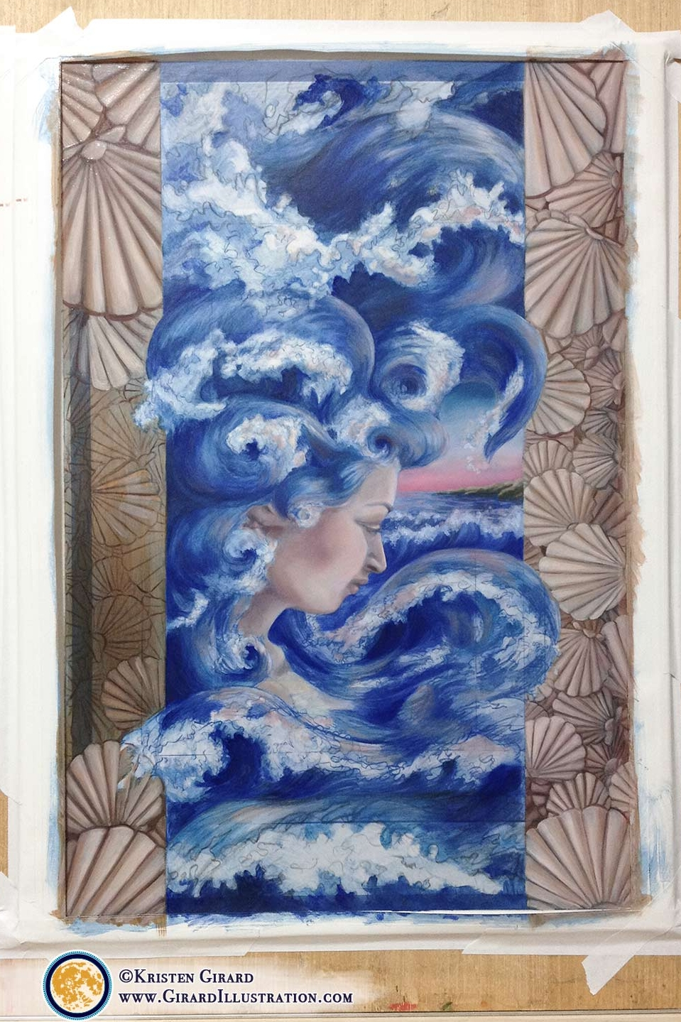 A water goddess comes to life as dawn kisses the sky in this nature inspired illustration full of ocean waves, sea shells, and natural magic.    Behind the scenes look at painting  Water Magic from the Art for Creation Collection  © by artist Kristen Girard.  To see the finished goddess of water painting click here.  Beautiful limited edition fine art prints are available to bring the magic of the ocean to your home in the  Art & Storie Shop .  Click here to explore framed and unframed goddess art prints.