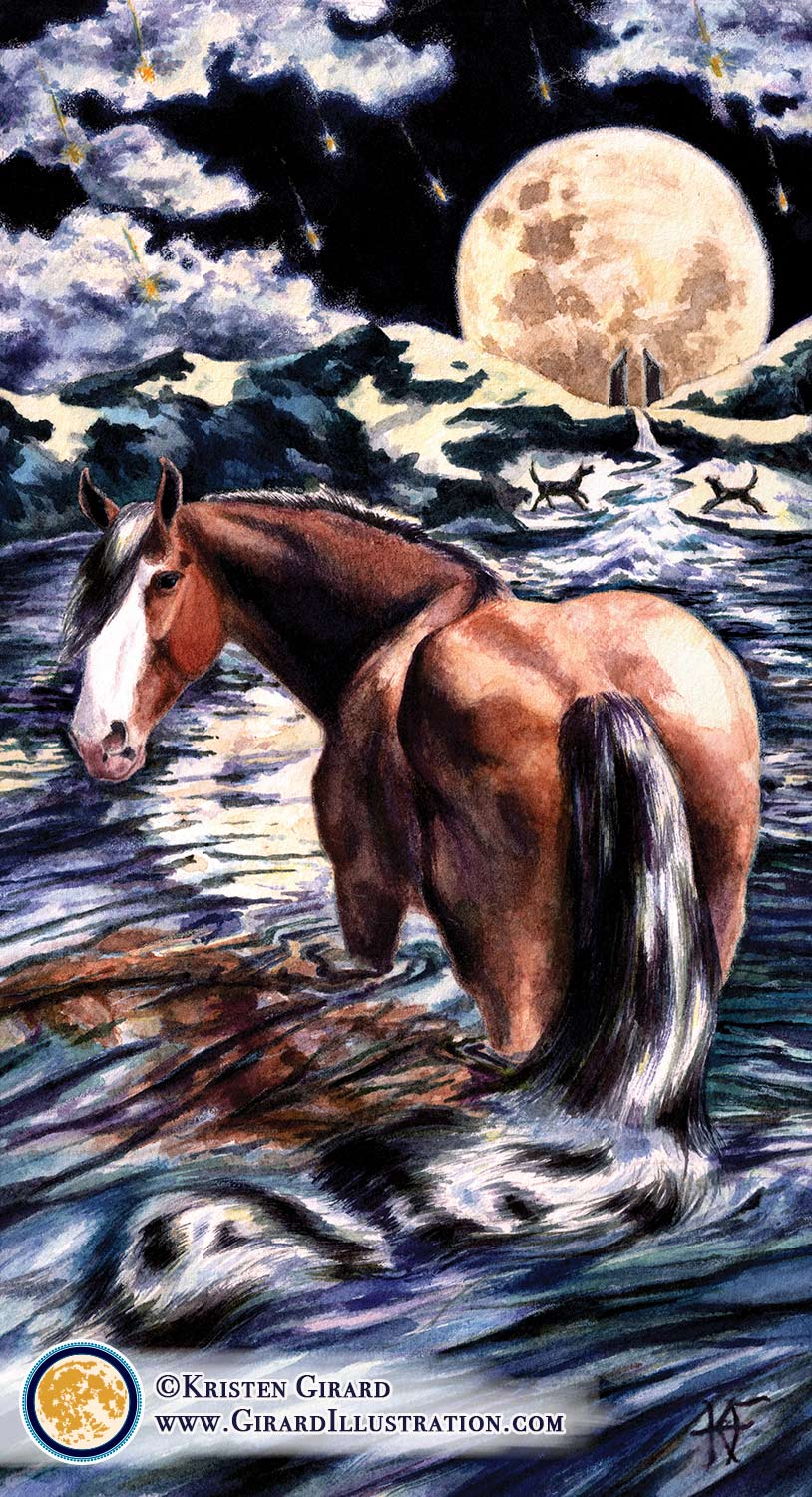 A Clydesdale draft horse wades into lake waters underneath the full moon. His tail blends with the water. The a river flows into the lake. The moon rises in the dark of night above mountains on the shore. Two dogs and two towers are on the shore of the rippling lake waters beneath the moon.  The Moon © by Kristen Girard.
