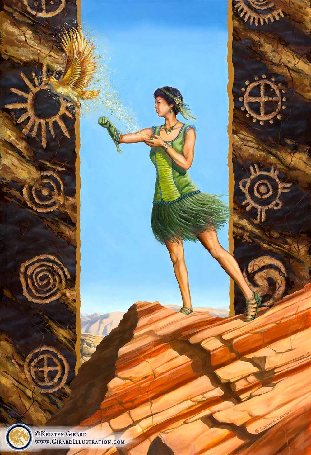 The goddess known as Mother Earth creates life in the desert. This life giving goddess wears a green decoration in her hair, a green dress made of natural fibers, and a hawking glove. She is releasing a golden bird of prey into the air. Symbols of the sun are carved into rock behind the goddess of the earth and creation. © Kristen Girard. Oil Painting. Canvas art print available in the  Art Shop .
