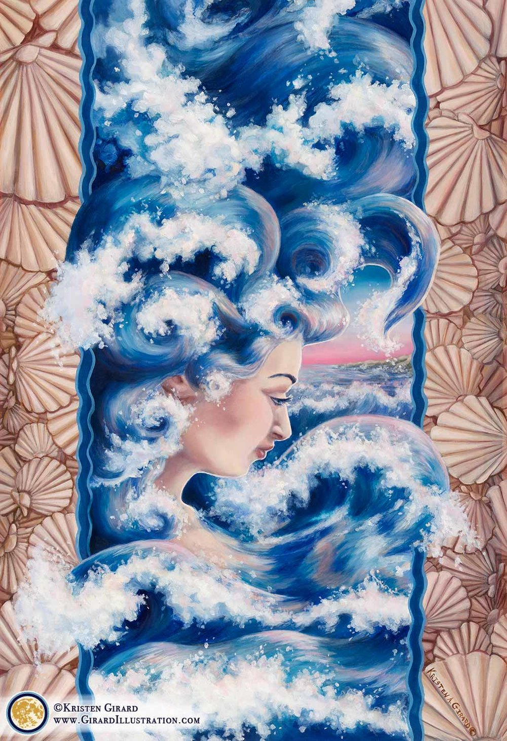 A water goddess rises to the surface of the blue ocean with hair and clothes made of waves. Her element of strength is water. Painted seashells decorate the border as waves of water rush and foam with reflections of the dawn's pink light. © 2015 by Kristen Girard of Girard Illustration