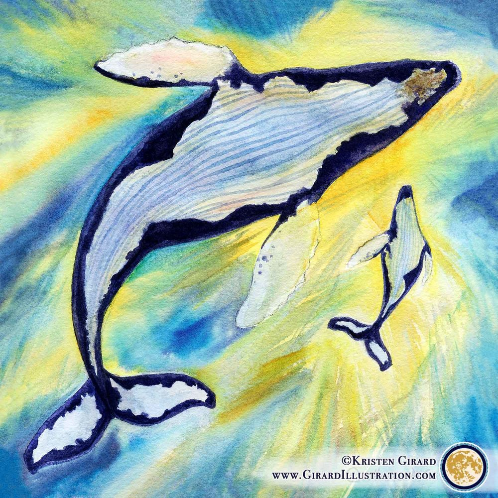 A mother whale and her calf swim in blue and gold water lit by sunlight filtering down through the water in this watercolor art print perfect for ocean loving homes. The humpback whale pair symbolize hope. © Kristen Girard of Girard Illustration