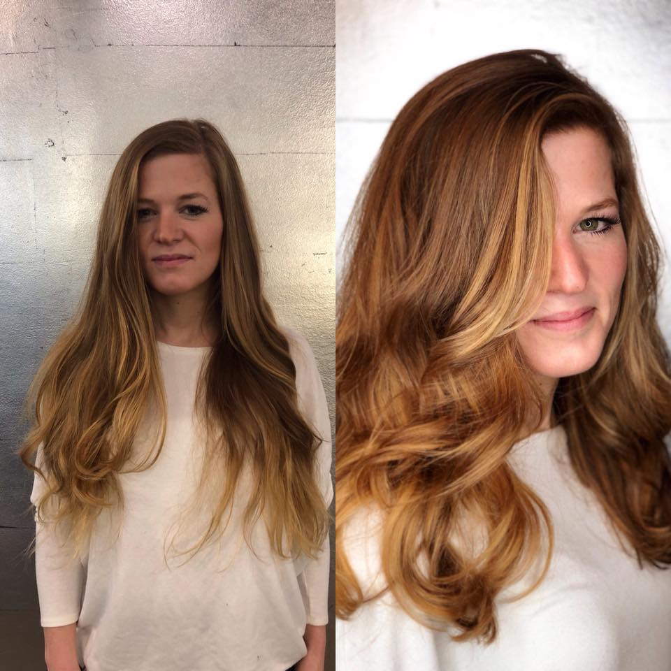 before and after, strawberry blonde, warm highlights, balayage.jpg